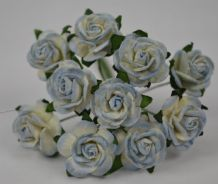 1.5cm 2 tone BABY BLUE Mulberry Paper Roses